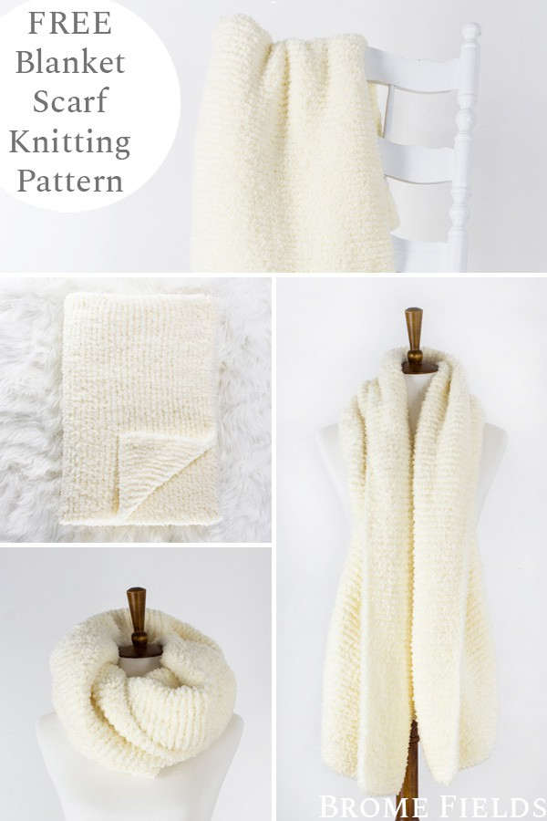 Multiple Pics of a hand knit blanket scarf